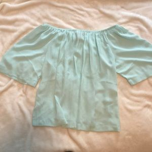 Off the shoulder turquoise sheer top